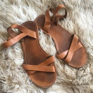 Madewell brown boardwalk leather sandals cross